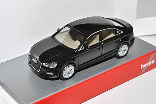 Audi-A3-Limousine-Schwarz-Ab-2013-8V-H0-187-Herpa-Modell-Auto-mit-individiuellem-Wunschkennzeichen