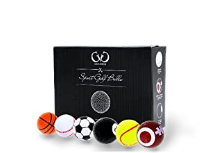 Golf Genius Novelty Gift Set of 6 Sports Golf Balls great gift for any golfer *GIFT BOXED*