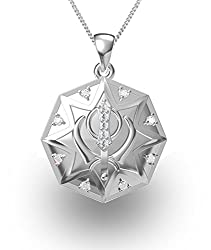 Exxotic Religious 925 Silver Khanda Symbol Pendant Jewellery for Men and Women
