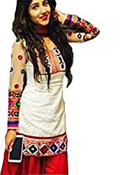 now at wow Women's white cotton Dress materials_white_free size)