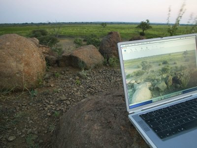 Laptop Computer in the Veld, Northern Tuli Game Reserve, Botswana Premium Photographic Poster Print by Roger De La Harpe, 16x12