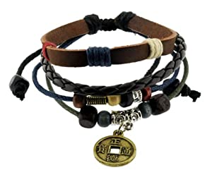 Chinese Ancient Coin Zen Bracelet / Leather Bracelet / Leather Wristband / Surf Bracelet Adjustable Size, for Men, Women, Boys and Girls, Teens, #338