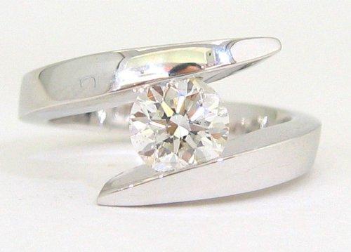14K White Gold Round Diamond Engagement Ring Tension Set 1.00Ctw
