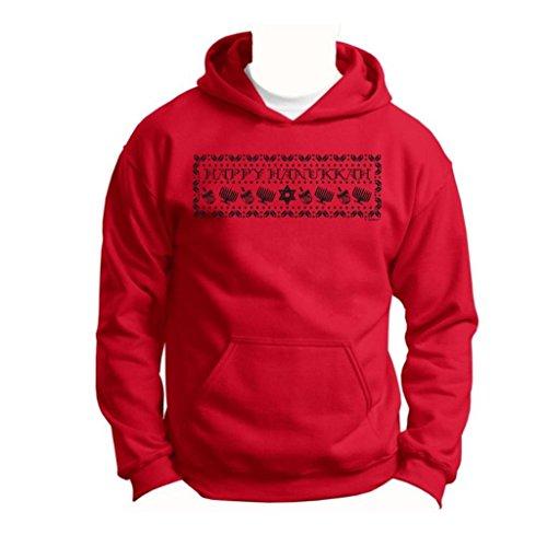 Happy Hanukkah Ugly Christmas Sweater Youth Hoodie Sweatshirt Medium Red