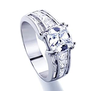Platinum Plated Sterling Silver Wedding & Engagement Ring Special Cut Solitare 1.5Carat Cubic Zirconia ( Size 5 to 9) by Double Accent