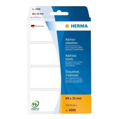 HERMA - étiquettes adresses, 88x35mm,pli en accordéon,blanchesContenu: 250 étiquettes, perforation a