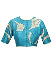 SEA-BLUE EMBRIODERED ROUND-NECK BLOUSE MATERIAL BY kmozi