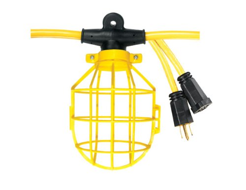 Voltec 08-00193 12/3 Stw 5-Light Plastic Cage Light String, 50-Foot, Yellow