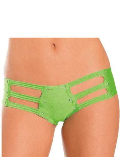 Jeweled Side Strap Booty Shorts Neon Lime O/S