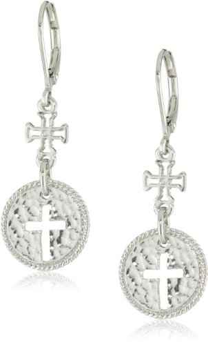 The Vatican Library Collection Silver-Tone Cross Drop Earrings