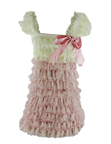 Lace Ruffle Romper Dress (Xl (2T-4T), Dusty Rose/Ivory) front-98962