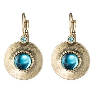 12K Plated Gold Round Glass Center Earring