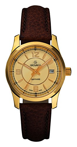 Grovana Dorado para Mujer reloj infantil de cuarzo con esfera analógica y correa de piel color marrón 3215,1511