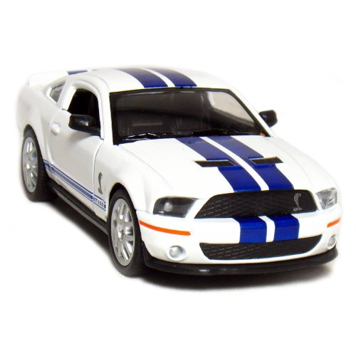 "5"" 2007 Shelby GT500 1:38 Scale (White/Blue Stripes) by Kinsmart - 1"