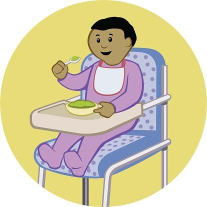 A Baby Eating In A High Chair Wall Decal - 24 Inches H X 24 Inches W - Peel And Stick Removable Graphic front-634600