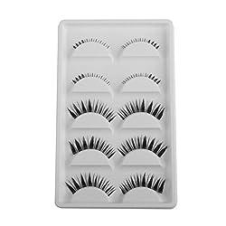 Imported 5 Pairs Black Handmade Upper Lower False Eyelashes Fake Eye Lashes Extension