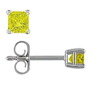 1/2 CT Princess Cut Yellow Diamond Stud Earrings 14k White Gold
