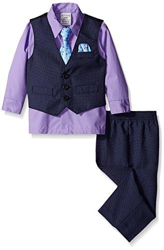 Perry Ellis Baby Fine Pindot Vest Set, Purple Thistle, 12 Months