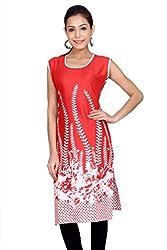 Kurti Studio Womens Festive Red Printed Jaipuri Cotton Kurti