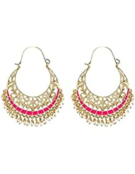The Jewelbox Filigree Chaand Bali Gold Plated Pink Meenakari Hoop Earring For Women