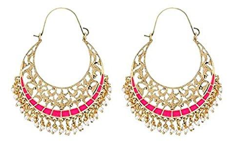 The Jewelbox Filigree Chaand Bali Gold Plated Pink Meenakari Hoop Earring For Women
