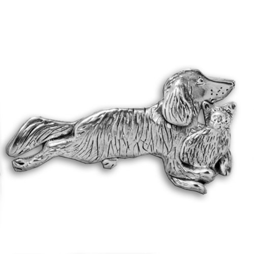 Sterling Silver Dog Cat Combination Pin by The