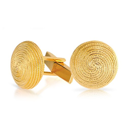 Bling Jewelry Cable Swirl Pattern Gold Vermeil Mens Cufflinks