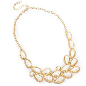 Fashion Gold Tone Chain Style Jewelry Rhinestone White Resin Pendant Necklace