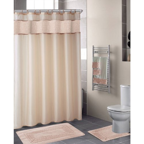 Beige FLORAL RIBBON 18-Piece Bathroom Set: 2-Rugs/Mats, 1-Fabric Shower Curtain, 12-Fabric Covered Rings, 3-Pc. Decorative Towel Set