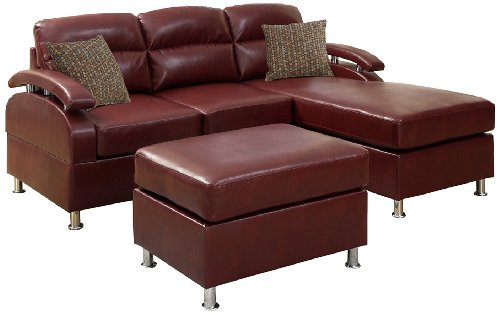 Poundex bobkona 3 piece bonded leather sectional sofa for Burgundy leather chaise