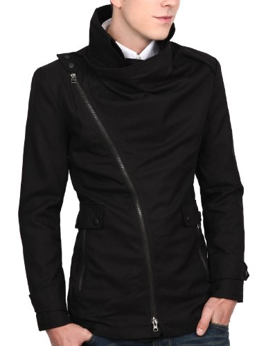 9Xis Mens Casual Turtleneck Zipup Jacket BLACK XL (9MO023)