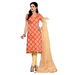 Resham Fabrics Orange Chanderi Dress Material