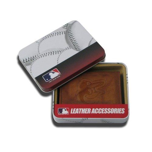 MLB Baltimore Orioles Embossed Genuine Cowhide Leather Trifold Wallet mlb baltimore orioles baltimore orioles cooperstown distressed motorola droid 2 skinit skin
