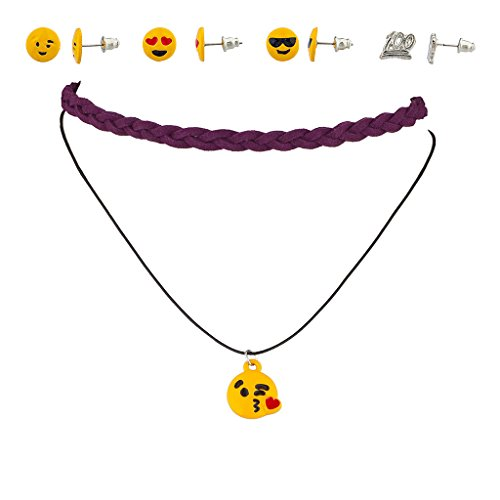 Lux accessori Emoji Happy Heart Love 100 Keep It Real 100% tessuto girocollo collana e orecchini set