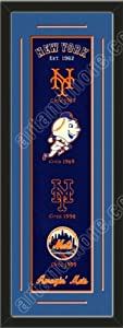 Heritage Banner Of New York Mets With Team Color Double Matting-Framed Awesome &... by Art and More, Davenport, IA