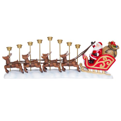 santa claus and reindeer menorah