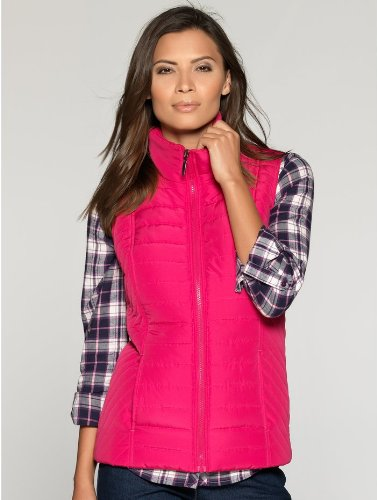 M&Co Ladies Lightly Padded Zip Up Funnel Neck Spring Gilet Bright Raspberry 18