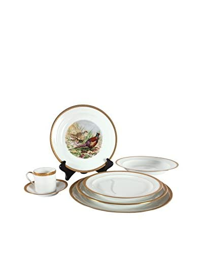 Found French Limoge Place Setting, White/Gold