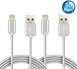 Nekmit 2 Pack 10 Feet / 3 Meters Nylon Braided Lightning to USB Cable Extra Long Charger for iPhone iPad iPod