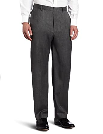 Joseph Abboud Men's Herringbone Flat Front Dress Pant, Grey, 34x32