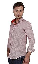 Yuvi Men's Slim Fit Cotton Shirt (10002030_White Red_XL)