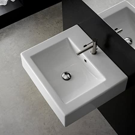 20 Inch White Ceramic Bathroom Sink, No Hole