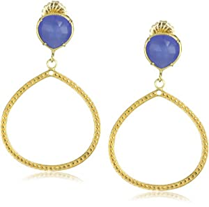 "Coralia Leets Jewelry Design ""Riviera Collection"" 12mm Single Frame Earrings Deep Blue Chalcedony"