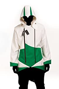 Hoodie Costume Jacket Coat - independently designed by WitBuy designers,White With Green (Men-Small)