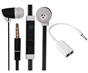 Value Combo Of Premium 3.5mm Designed In Ear Bud Headset Earphones and Stereo Jack Splitter Cable For HTC Desire 626 (US) -Black