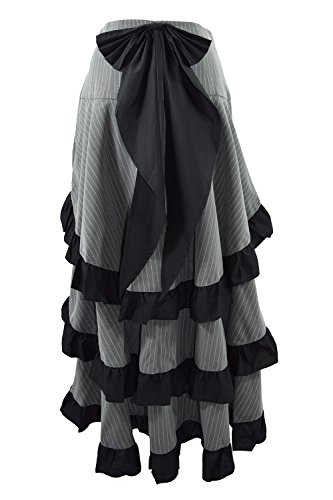 Gothic Victorian Steampunk Pinstriped Tiered Tail Long Bustle Gray Skirt (36EU)
