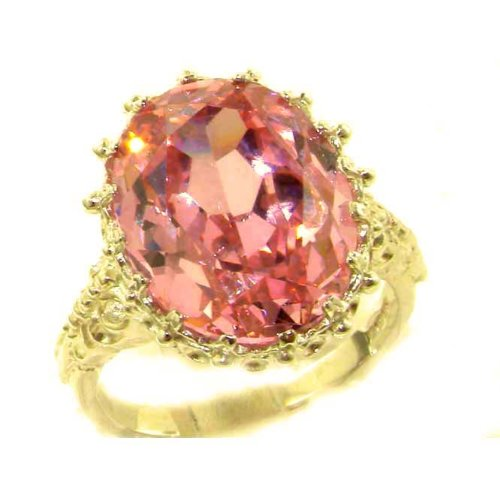 Luxury Solid 14K Yellow Gold Large 16x12mm Oval 13ct Synthetic Pink Sapphire Ring - Size 9.75 - Finger Sizes 5 to 12 Available - Perfect Gift for Birthday, Christmas, Valentines Day, Mothers Day, Mom, Mother, Grandmother, Daughter, Graduation, Bridesmaid.