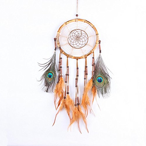 RIUDA Dream Catcher Circular Multicolor Feathers Wall Hanging Decoration Decor Craft For Bedroom, Car, Party