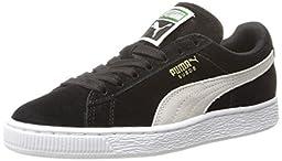 PUMA Women\'s Suede Classic  Sneaker,Black/White,11 B US