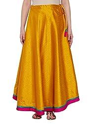 Women's Apparel Dupion Faux Silk Plain Skirt Drawstring Closure,W-FPS36-2401,Yellow